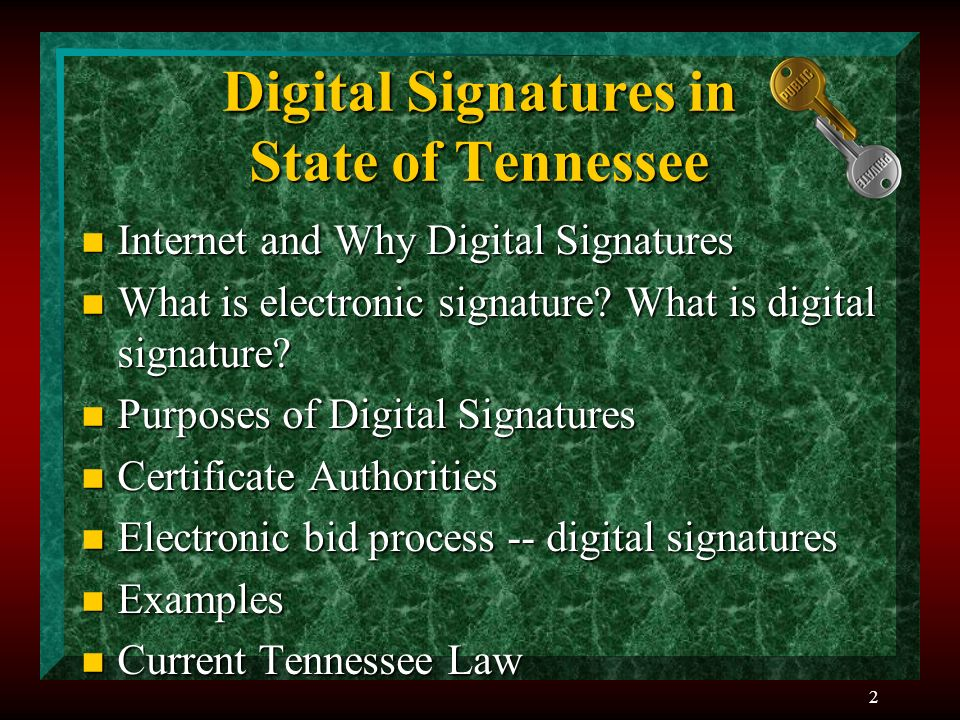 2 Digital Signatures in State of Tennessee n Internet and Why Digital Signatures n What is electronic signature.