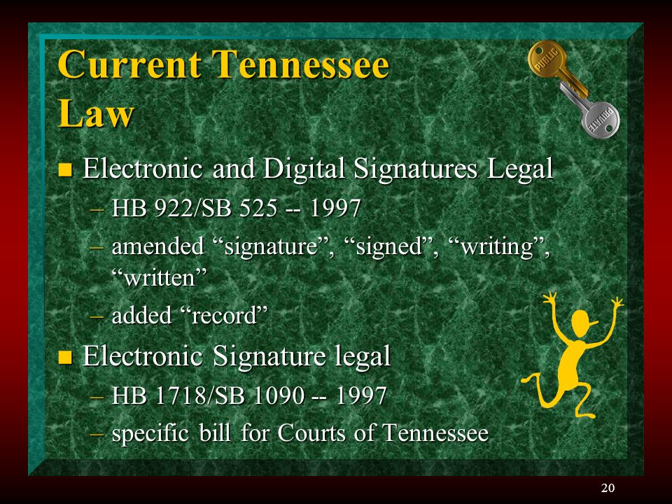 20 Current Tennessee Law n Electronic and Digital Signatures Legal –HB 922/SB –amended signature, signed, writing, written –added record n Electronic Signature legal –HB 1718/SB –specific bill for Courts of Tennessee