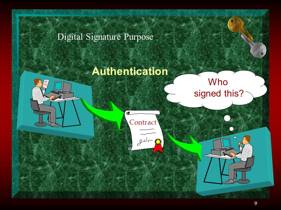 9 Contract Authentication Who signed this Digital Signature Purpose