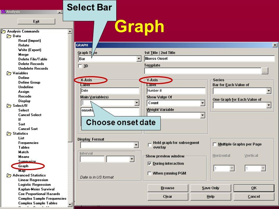 Graph Select Bar Choose onset date