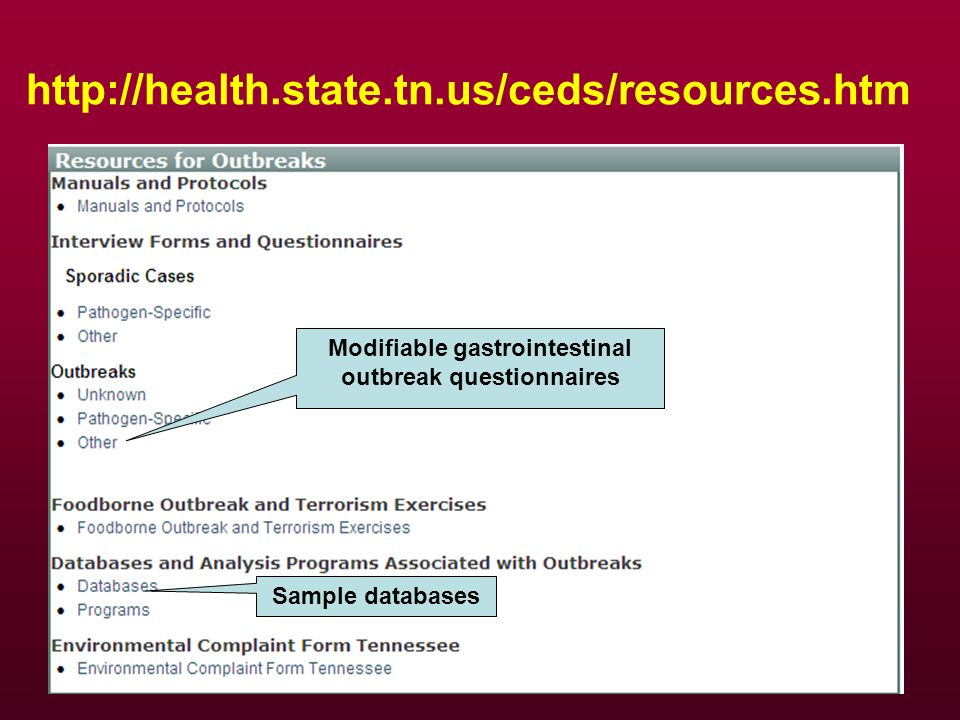 http://health.state.tn.us/ceds/resources.htm Sample databases Modifiable gastrointestinal outbreak questionnaires