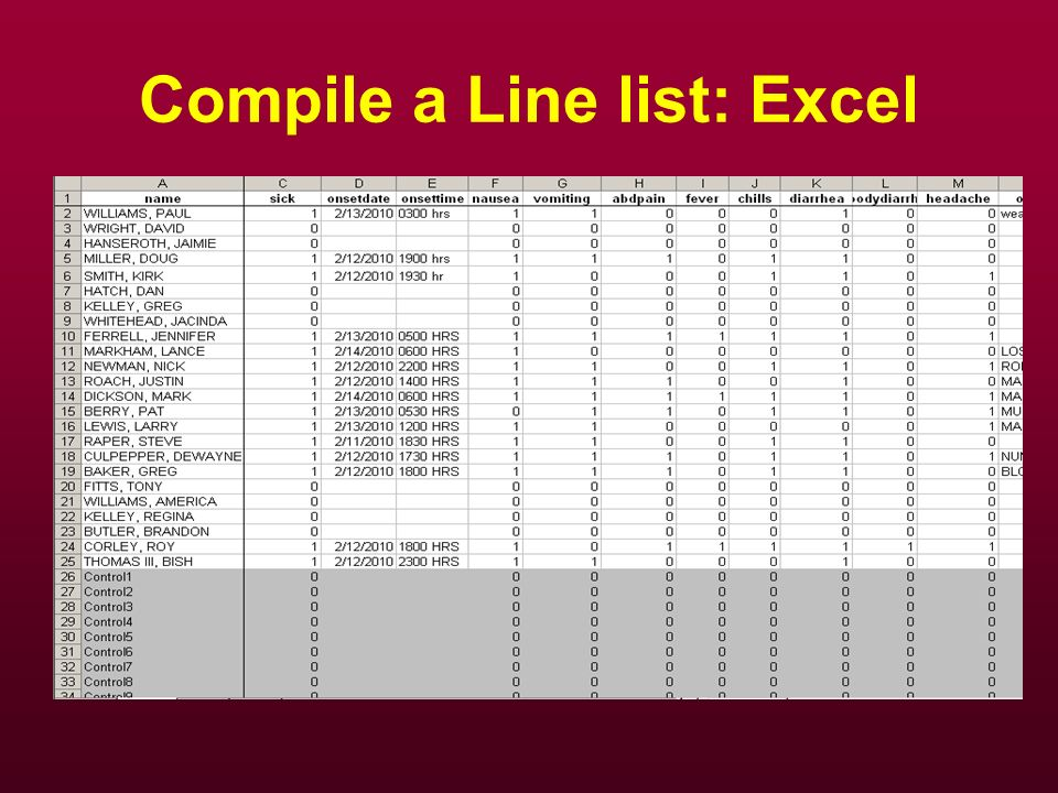 Compile a Line list: Excel