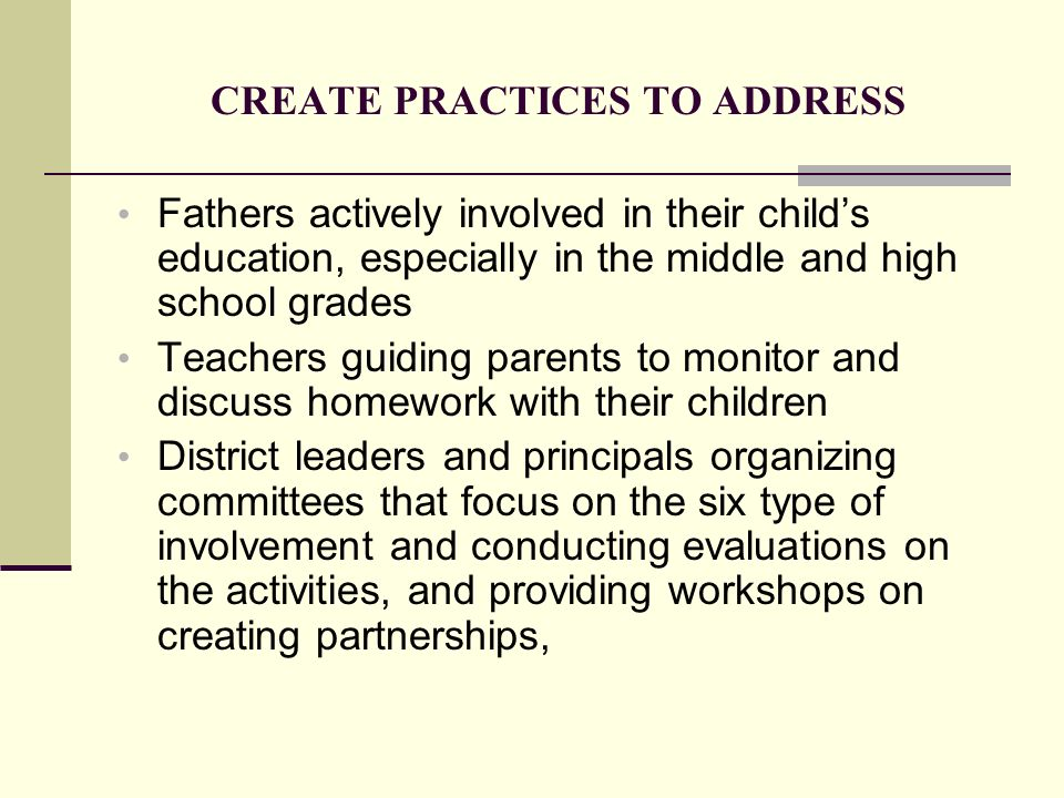 CREATE PRACTICES TO ADDRESS Fathers actively involved in their childs education, especially in the middle and high school grades Teachers guiding pare