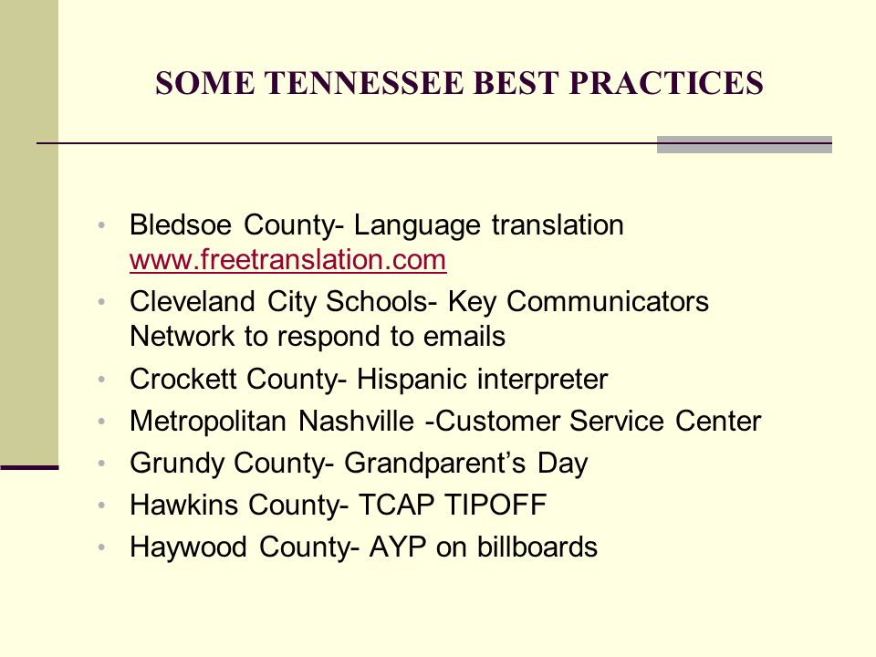 SOME TENNESSEE BEST PRACTICES Bledsoe County- Language translation www.freetranslation.com www.freetranslation.com Cleveland City Schools- Key Communi
