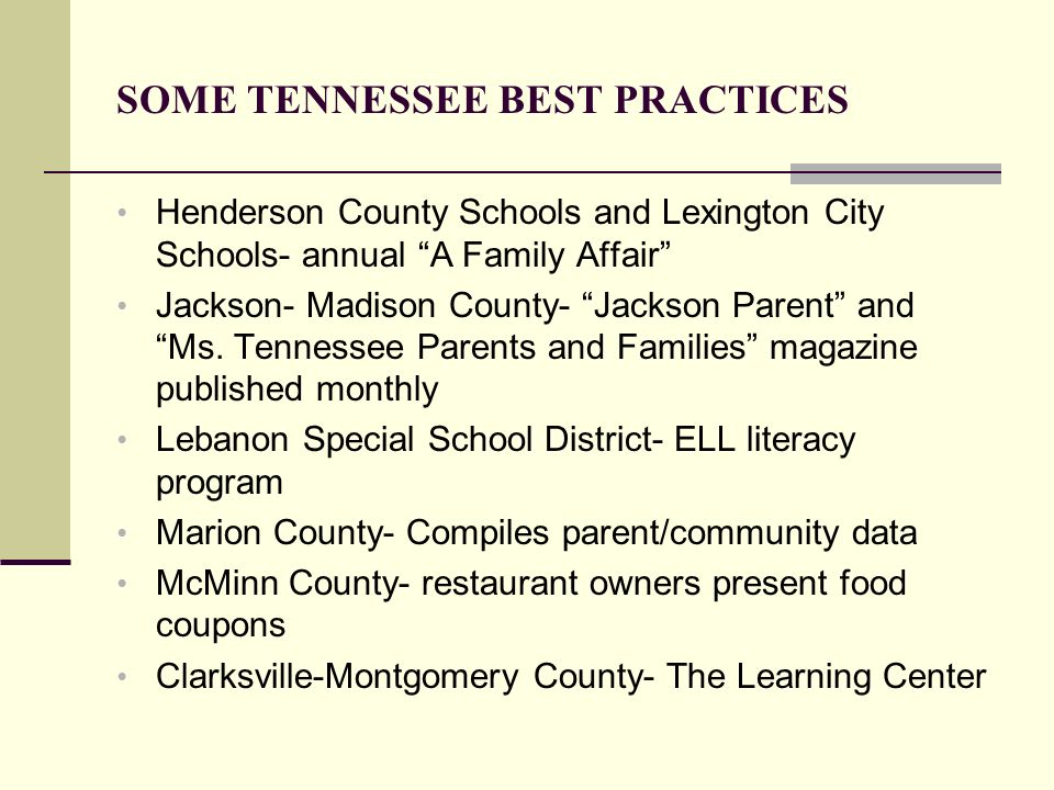 SOME TENNESSEE BEST PRACTICES Henderson County Schools and Lexington City Schools- annual A Family Affair Jackson- Madison County- Jackson Parent and
