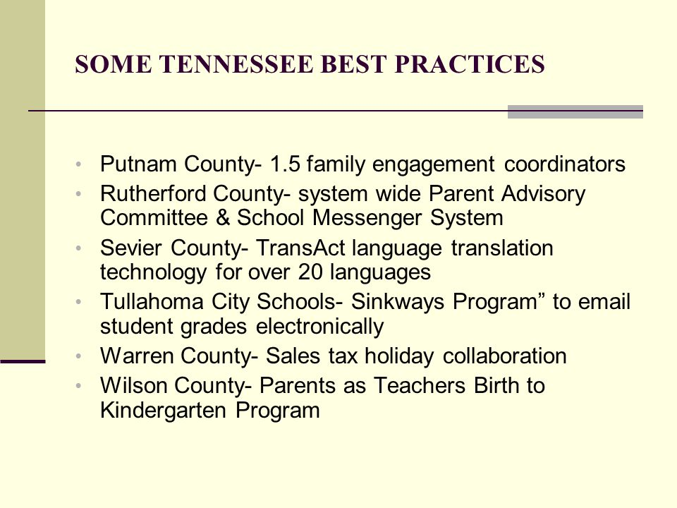 SOME TENNESSEE BEST PRACTICES Putnam County- 1.5 family engagement coordinators Rutherford County- system wide Parent Advisory Committee & School Mess