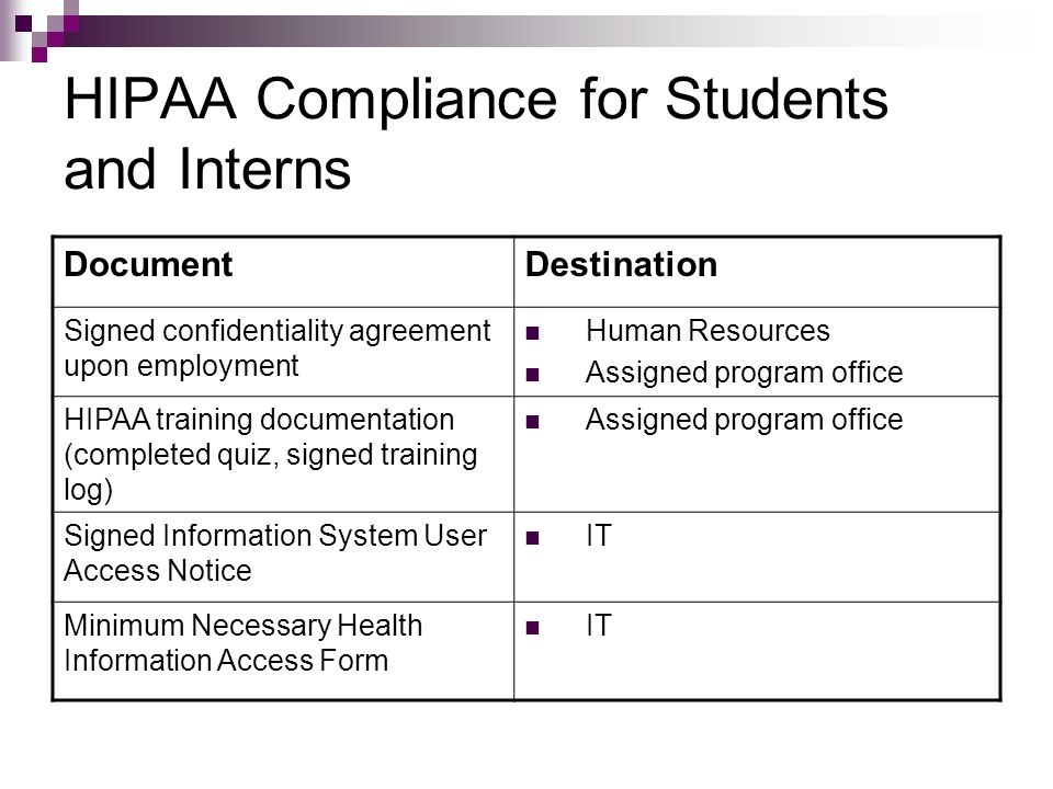 HIPAA Compliance for Students and Interns DocumentDestination Signed confidentiality agreement upon employment Human Resources Assigned program office