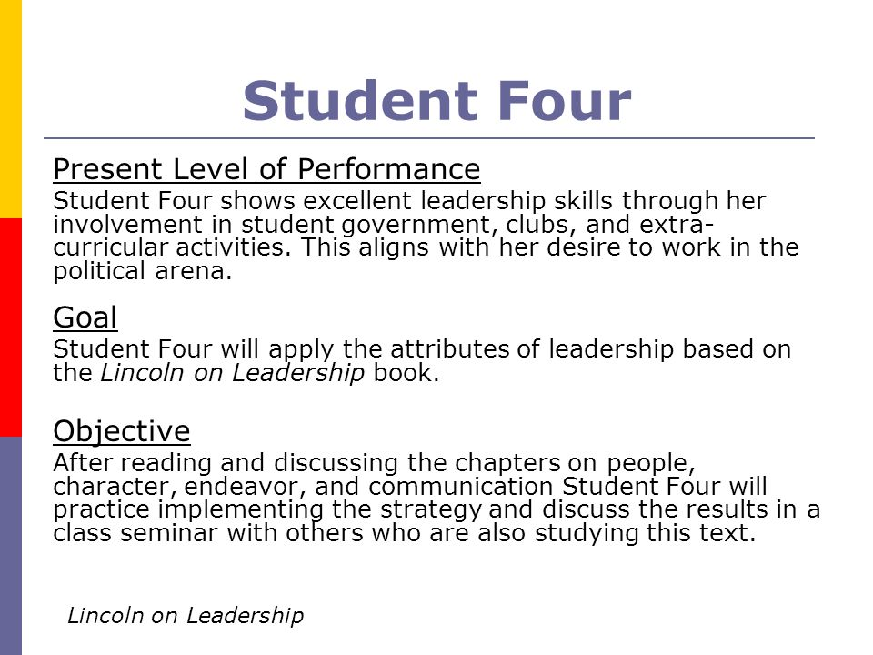 Student Four Present Level of Performance Student Four shows excellent leadership skills through her involvement in student government, clubs, and ext