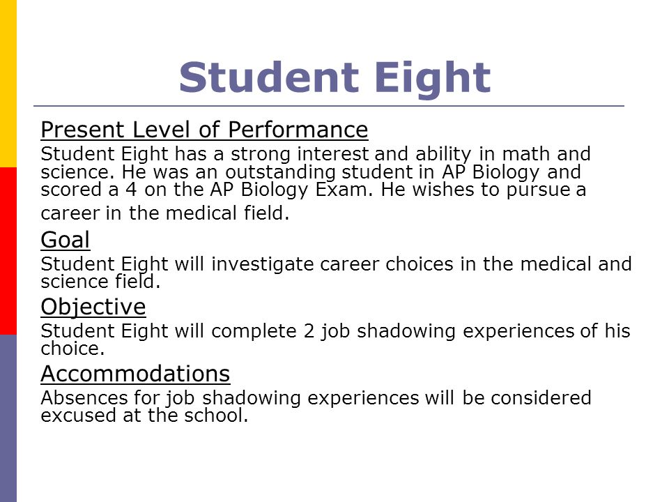 Student Eight Present Level of Performance Student Eight has a strong interest and ability in math and science. He was an outstanding student in AP Bi