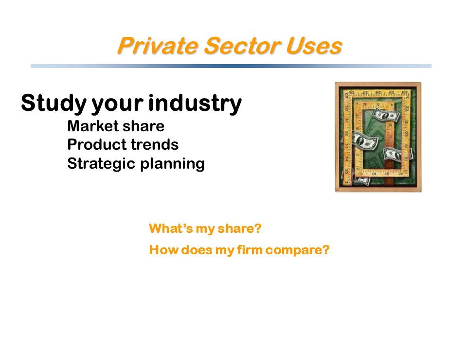 Private Sector Uses Study your industry Market share Product trends Strategic planning Whats my share? How does my firm compare?