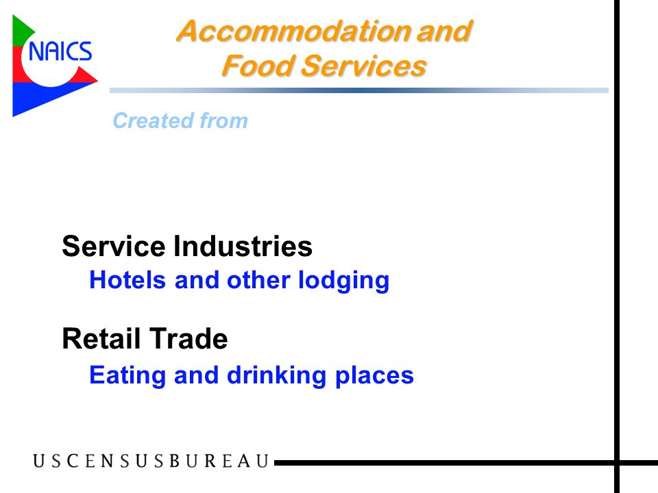 27 Accommodation and Food Services Accommodation and Food Services Created from Service Industries Hotels and other lodging Retail Trade Eating and drinking places