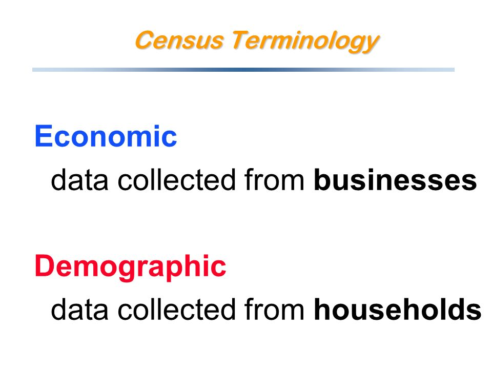 Economic data collected from businesses Demographic data collected from households Census Terminology
