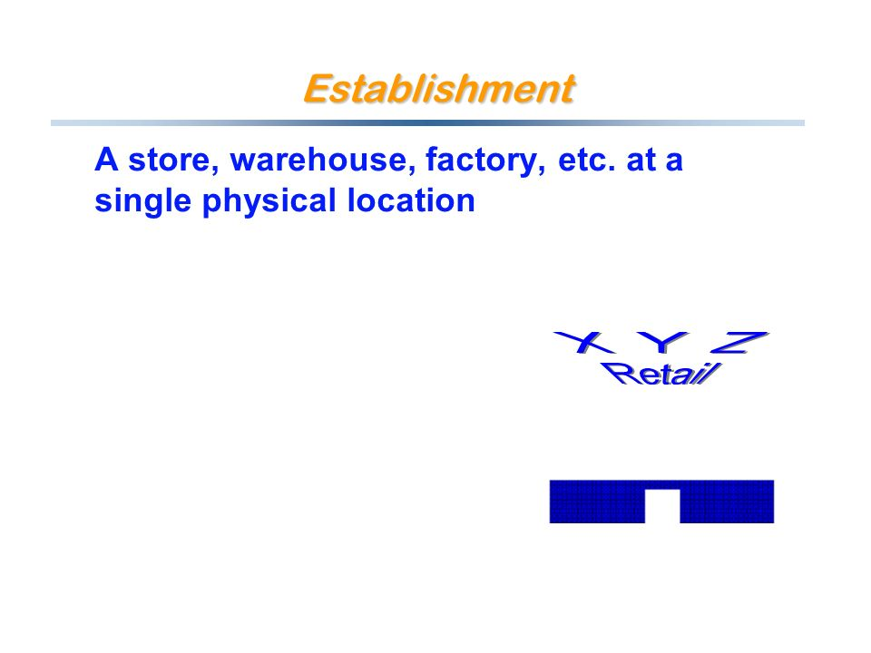 Establishment A store, warehouse, factory, etc. at a single physical location
