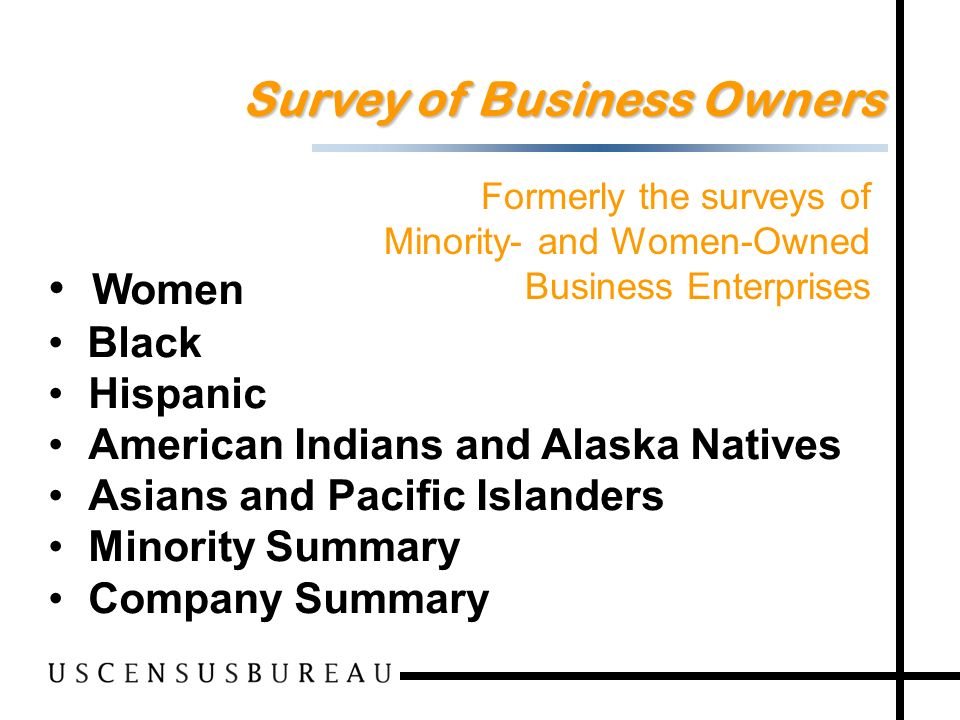 66 Women Black Hispanic American Indians and Alaska Natives Asians and Pacific Islanders Minority Summary Company Summary Survey of Business Owners Formerly the surveys of Minority- and Women-Owned Business Enterprises
