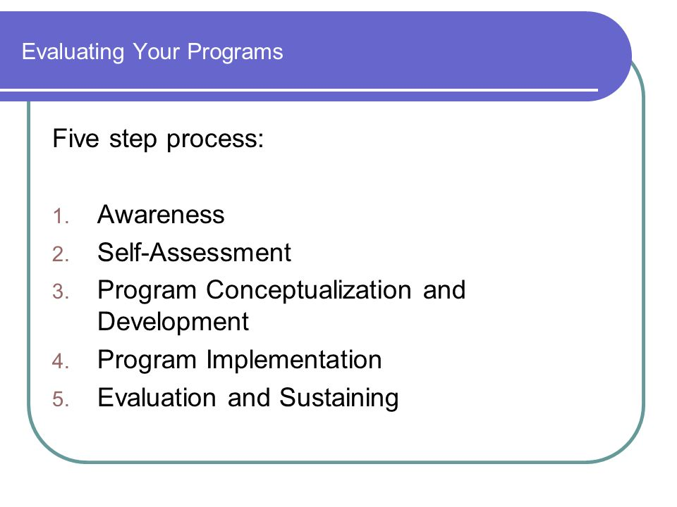 Evaluating Your Programs Five step process: 1. Awareness 2. Self-Assessment 3. Program Conceptualization and Development 4. Program Implementation 5.