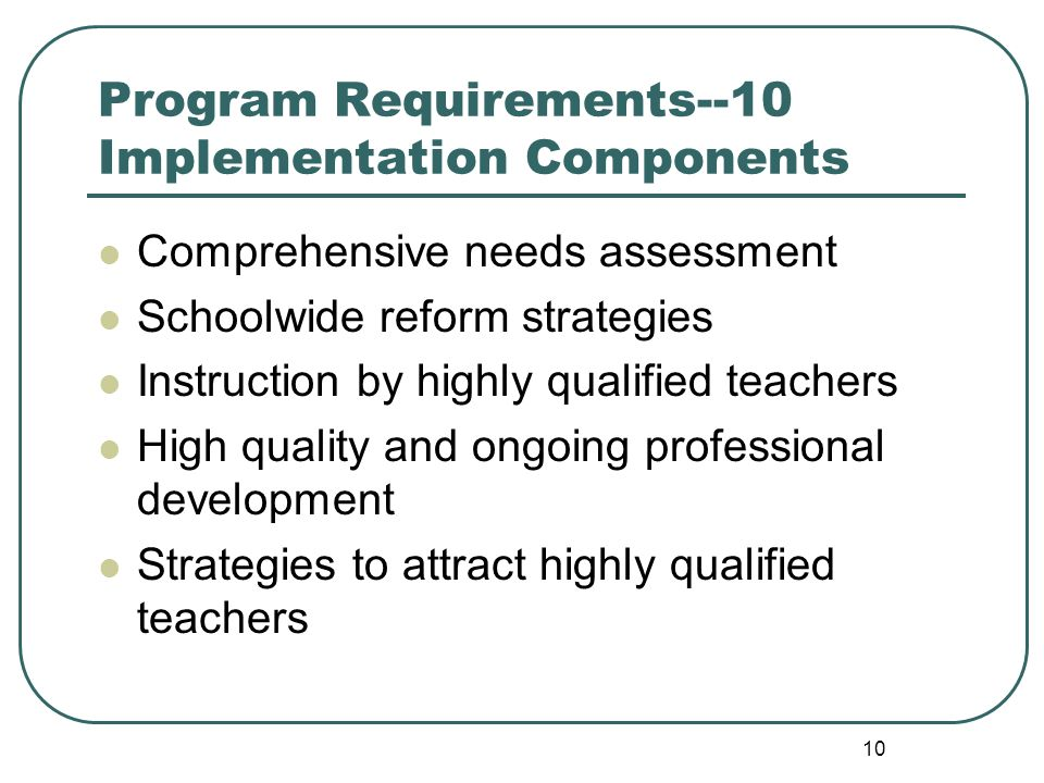 10 Program Requirements--10 Implementation Components Comprehensive needs assessment Schoolwide reform strategies Instruction by highly qualified teachers High quality and ongoing professional development Strategies to attract highly qualified teachers