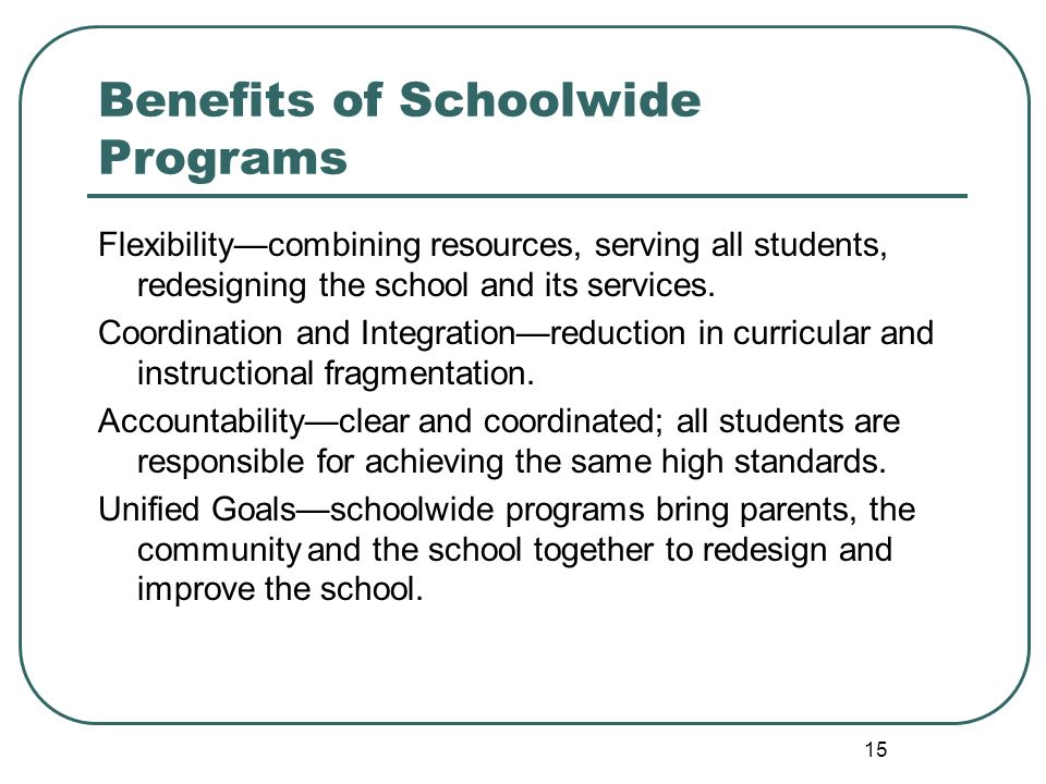 15 Benefits of Schoolwide Programs Flexibilitycombining resources, serving all students, redesigning the school and its services.