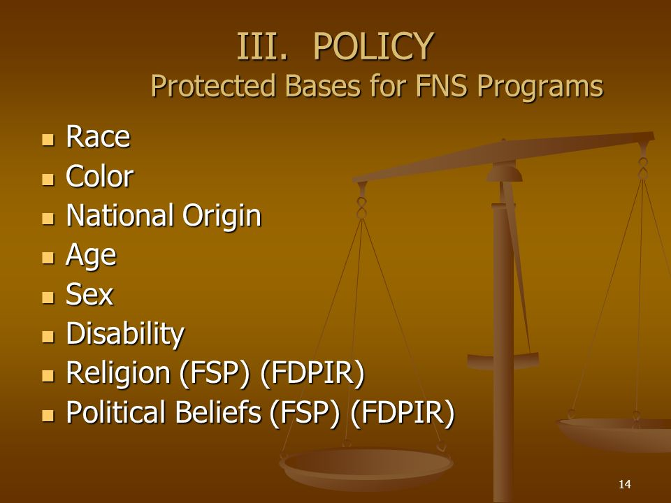 14 III. POLICY Protected Bases for FNS Programs Race Race Color Color National Origin National Origin Age Age Sex Sex Disability Disability Religion (