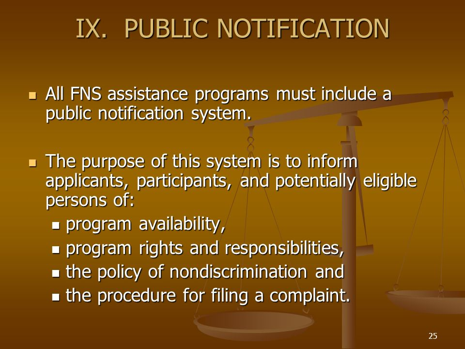 25 IX. PUBLIC NOTIFICATION All FNS assistance programs must include a public notification system. All FNS assistance programs must include a public no