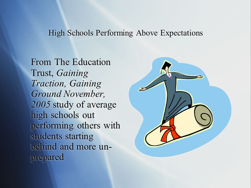 High Schools Performing Above Expectations From The Education Trust, Gaining Traction, Gaining Ground November, 2005 study of average high schools out