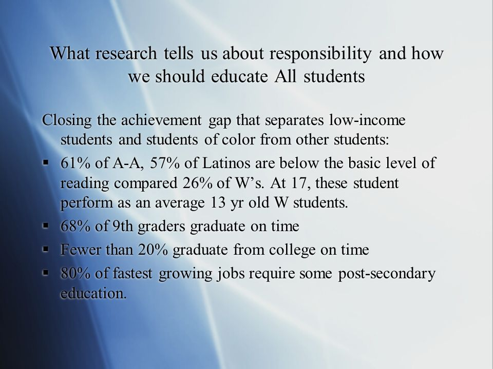 Central question : What do we know about the characteristics and practices of schools especially effective at improving the academic performance of previously low performing students.