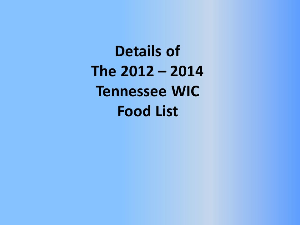 Details of The 2012 – 2014 Tennessee WIC Food List