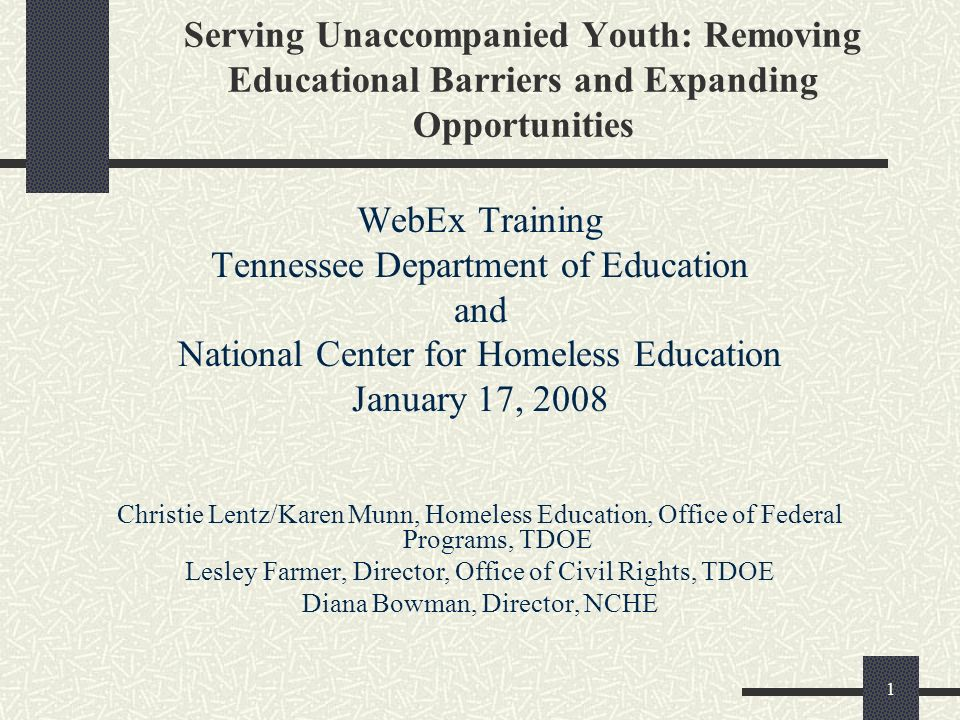 1 Serving Unaccompanied Youth: Removing Educational Barriers and Expanding Opportunities WebEx Training Tennessee Department of Education and National