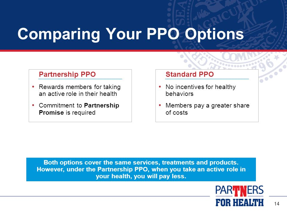 13 PPO Options There are two health insurance options available to you: Partnership PPO Standard PPO Both of these options are Preferred Provider Organizations (PPOs) How a PPO Works: Visit any doctor or hospital you want However, the PPO has a list of in-network doctors, hospitals and other providers that you are encouraged to use These in-network providers have agreed to take lower fees so you pay less for services You will pay more for services from out-of-network providers