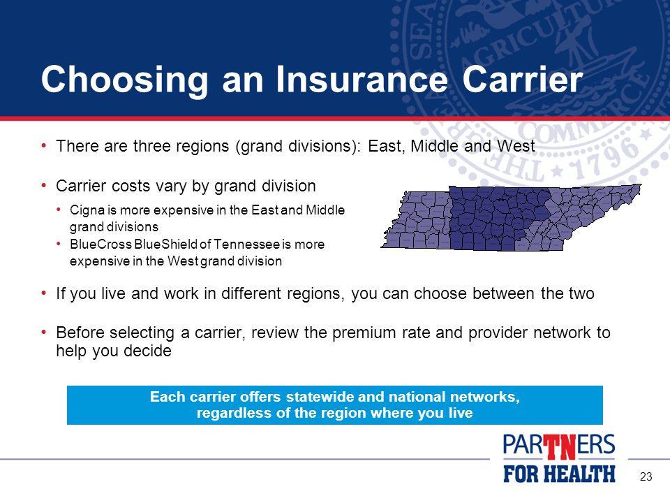 22 Choosing an Insurance Carrier Each carrier has its own network of preferred doctors, hospitals and other health care providers Check the networks for each carrier carefully when making your decision Provider directories are available Online By calling the carriers customer service phone line From your ABC