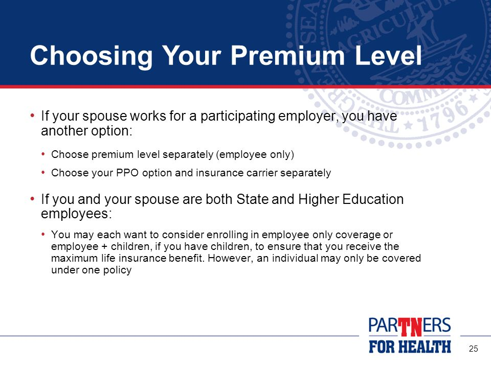 24 Choosing Your Premium Level The amount you pay in premiums depends on the PPO you choose and the number of people you cover under the plan There are four premium levels (tiers) available: Employee Only Employee + Child(ren) Employee + Spouse Employee + Spouse + Child(ren) Remember: The Partnership PPO premiums are lower than the premiums for the Standard PPO.