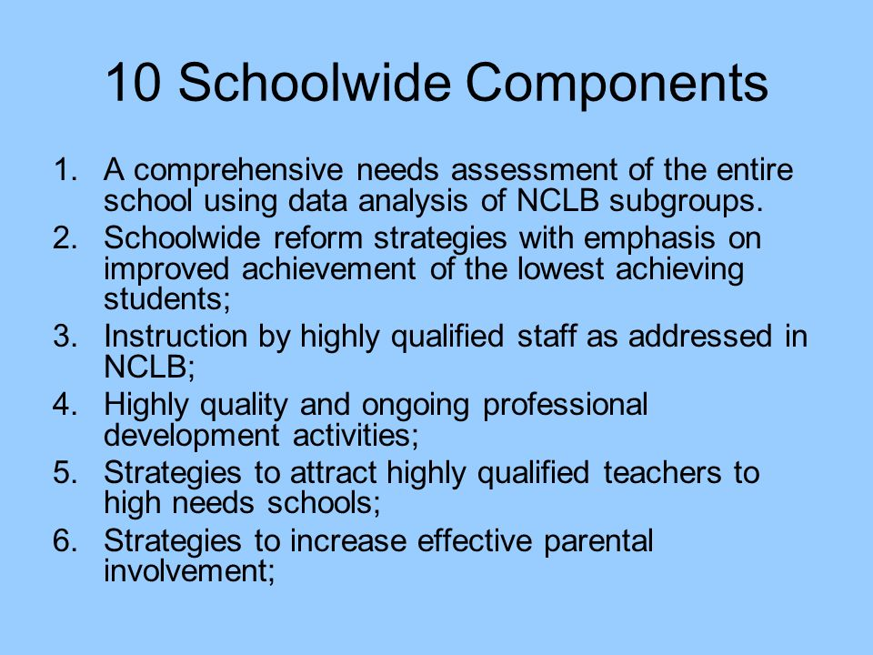 10 Schoolwide Components 1.A comprehensive needs assessment of the entire school using data analysis of NCLB subgroups.