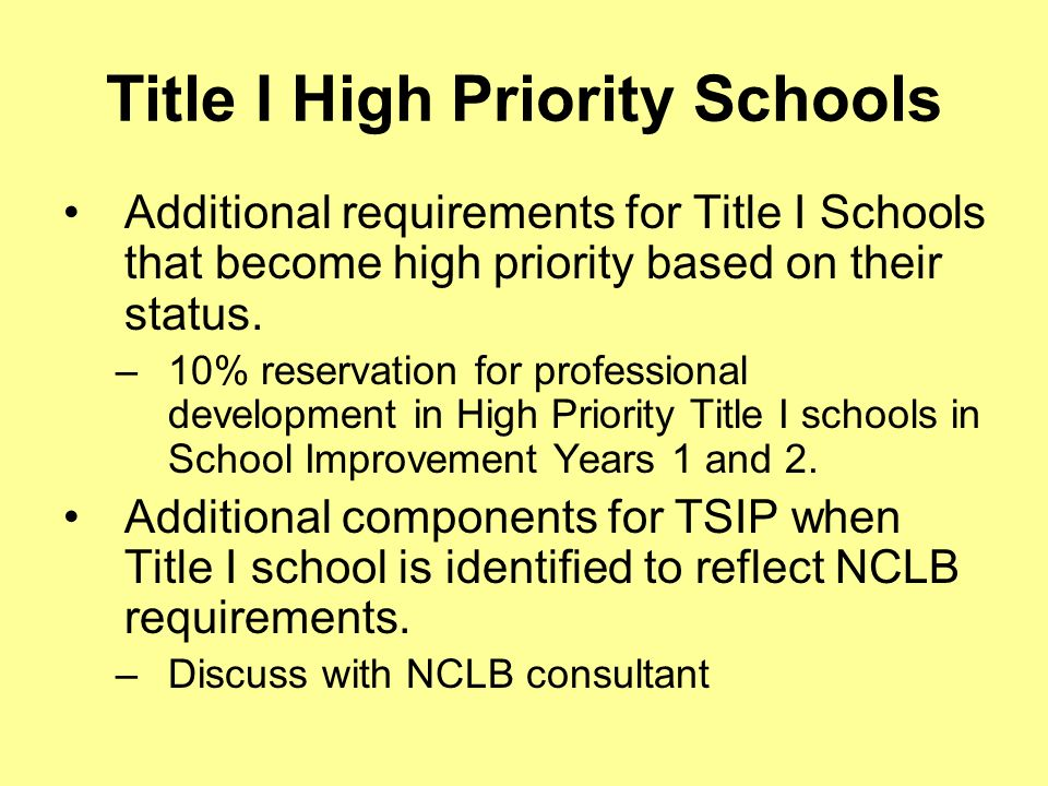 Title I High Priority Schools Additional requirements for Title I Schools that become high priority based on their status.