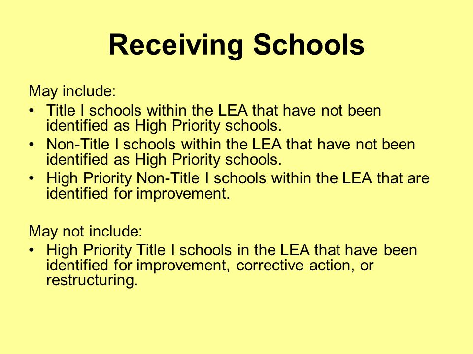 Receiving Schools May include: Title I schools within the LEA that have not been identified as High Priority schools.