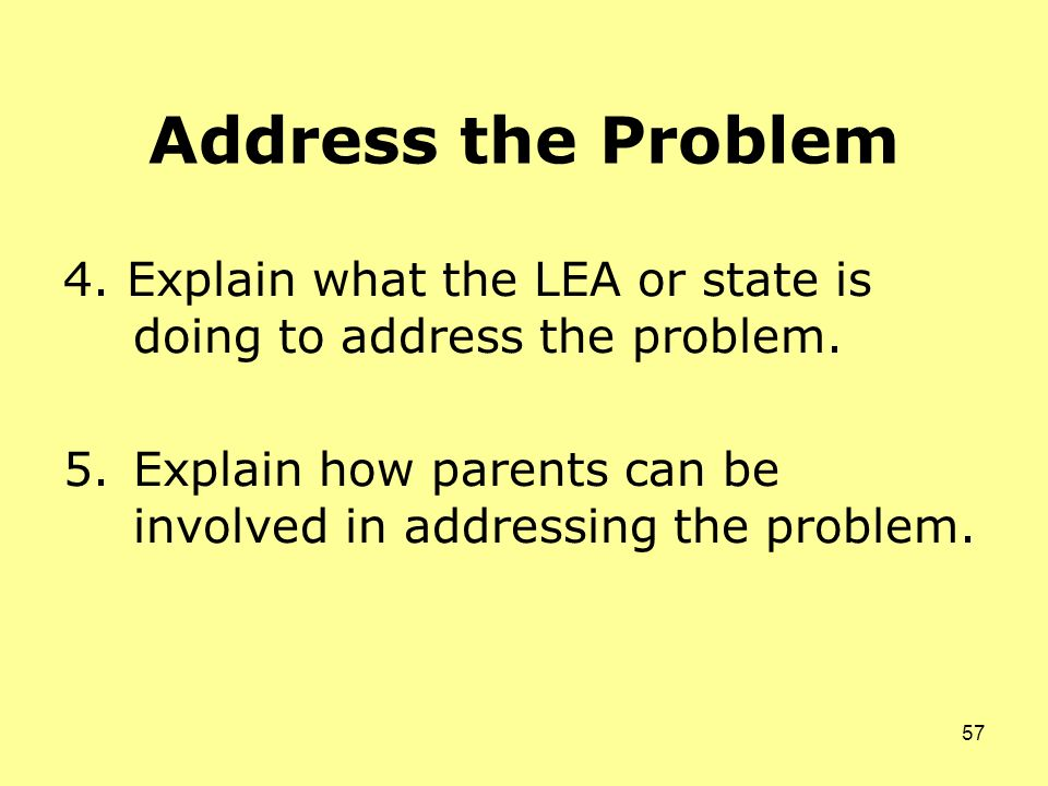 Address the Problem 4. Explain what the LEA or state is doing to address the problem.