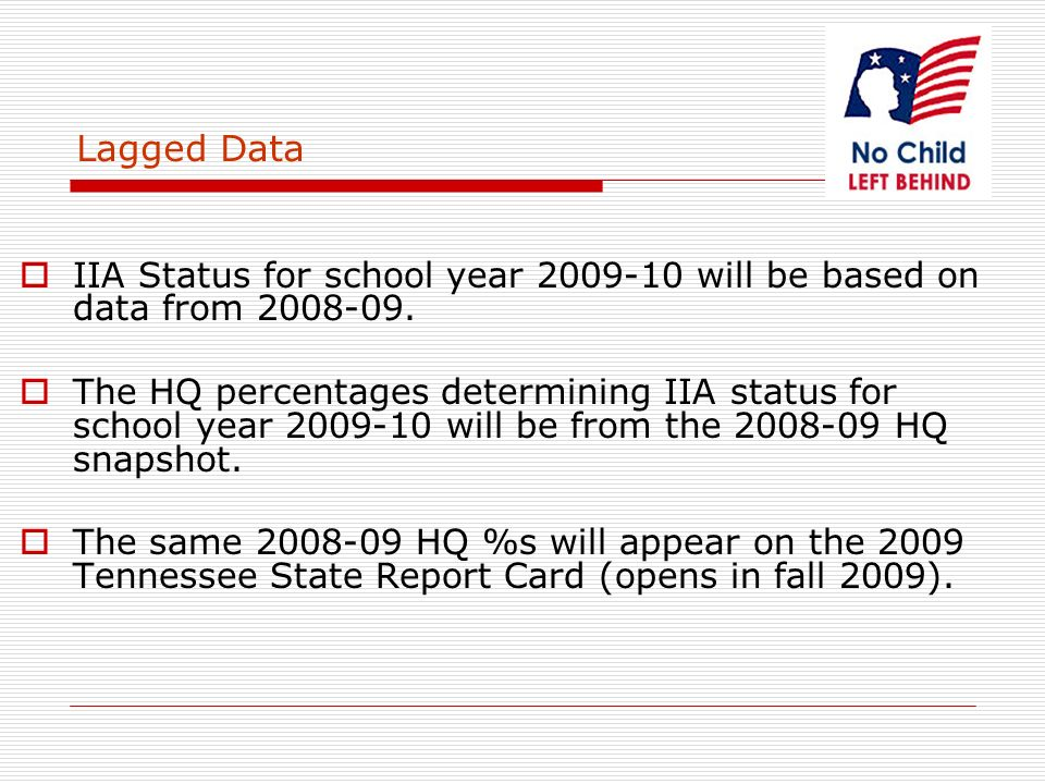 Lagged Data IIA Status for school year 2009-10 will be based on data from 2008-09.