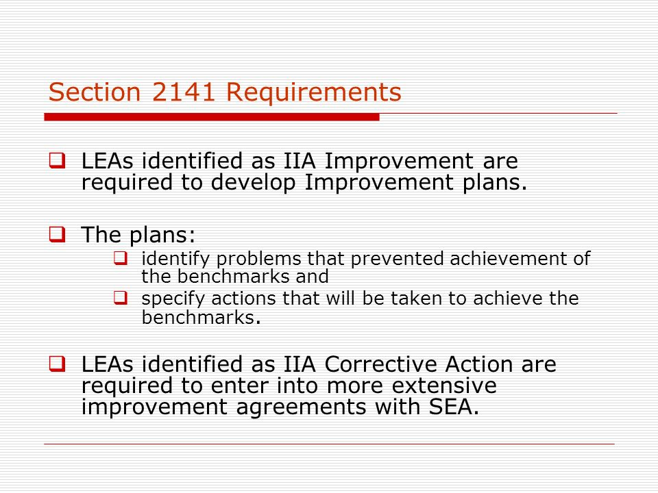 Section 2141 Requirements LEAs identified as IIA Improvement are required to develop Improvement plans.