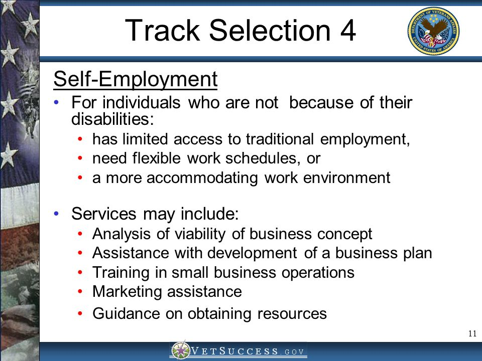 11 Track Selection 4 Self-Employment For individuals who are not because of their disabilities: has limited access to traditional employment, need fle