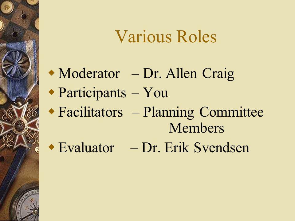 Various Roles Moderator – Dr.