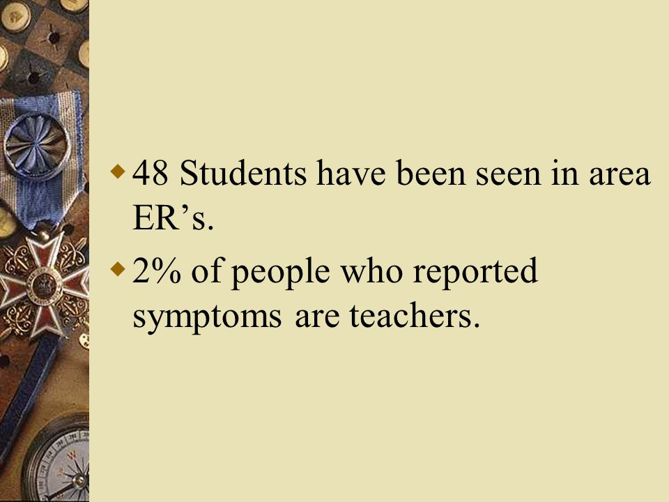 48 Students have been seen in area ERs. 2% of people who reported symptoms are teachers.