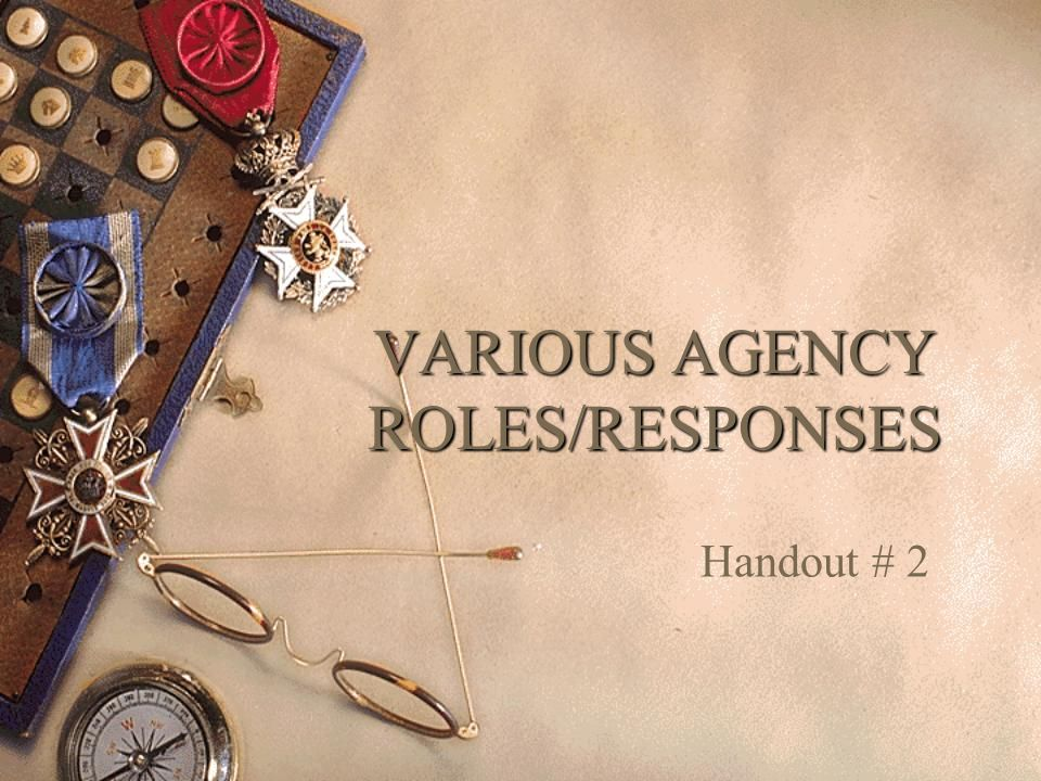 VARIOUS AGENCY ROLES/RESPONSES Handout # 2