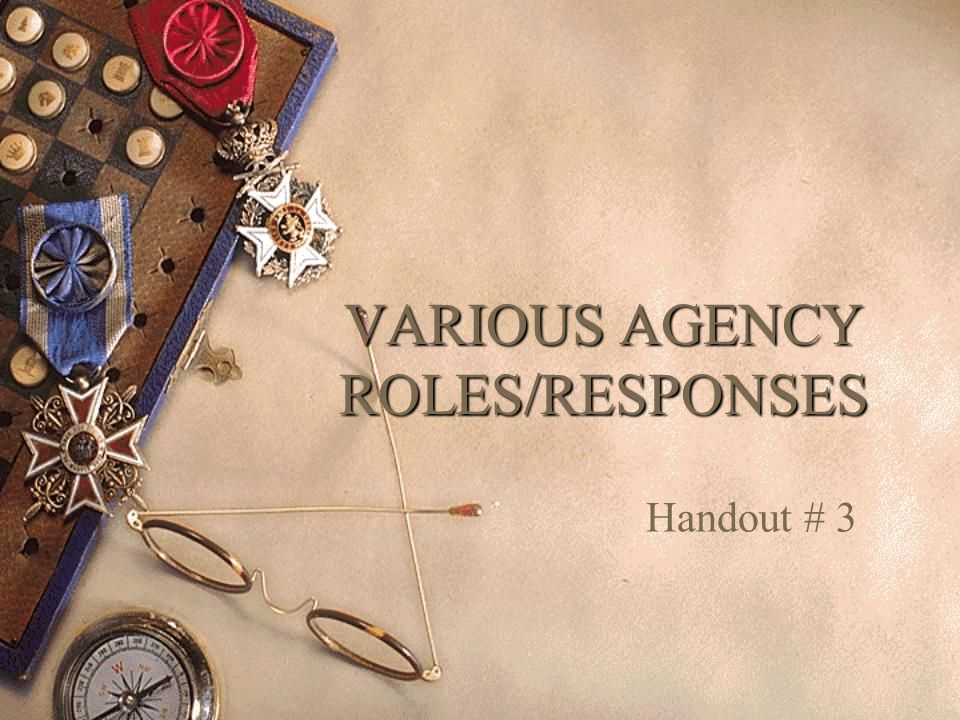 VARIOUS AGENCY ROLES/RESPONSES Handout # 3