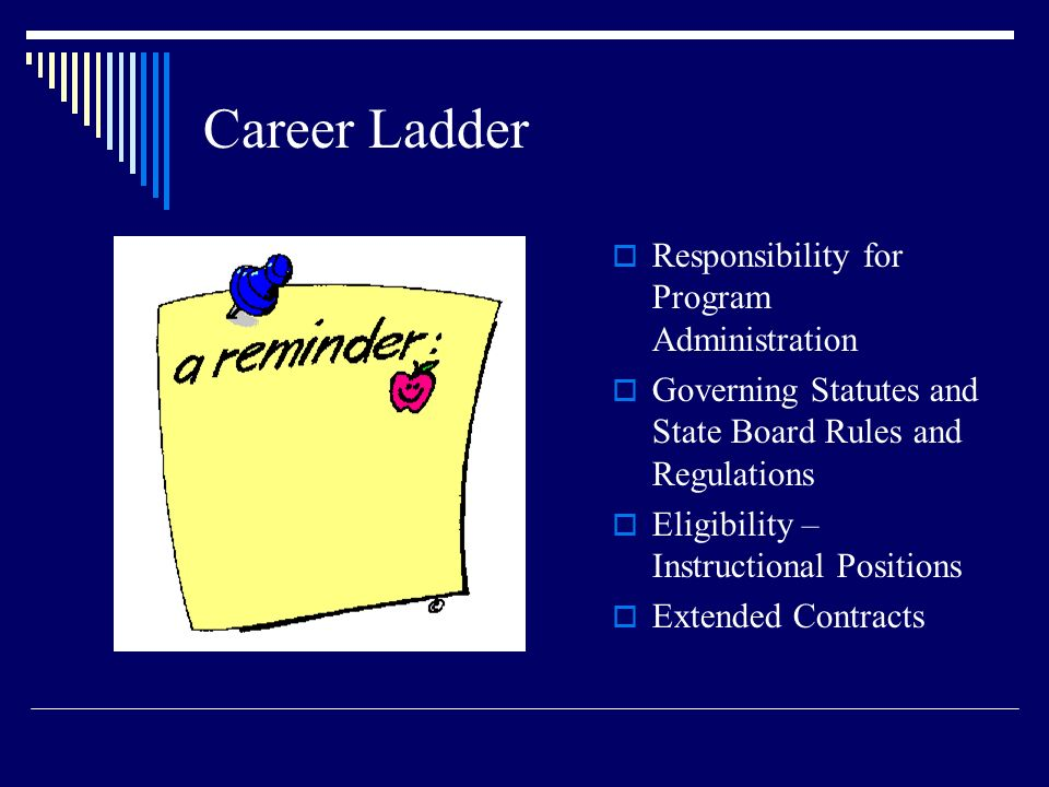 Career Ladder Responsibility for Program Administration Governing Statutes and State Board Rules and Regulations Eligibility – Instructional Positions