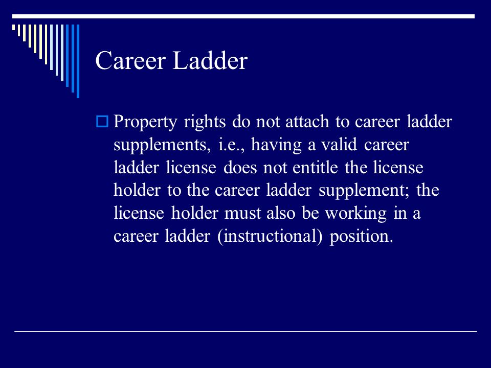 Career Ladder Property rights do not attach to career ladder supplements, i.e., having a valid career ladder license does not entitle the license hold