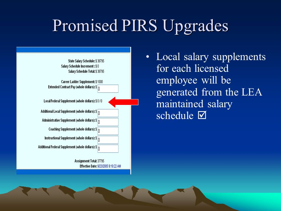 Promised PIRS Upgrades Local salary supplements for each licensed employee will be generated from the LEA maintained salary schedule