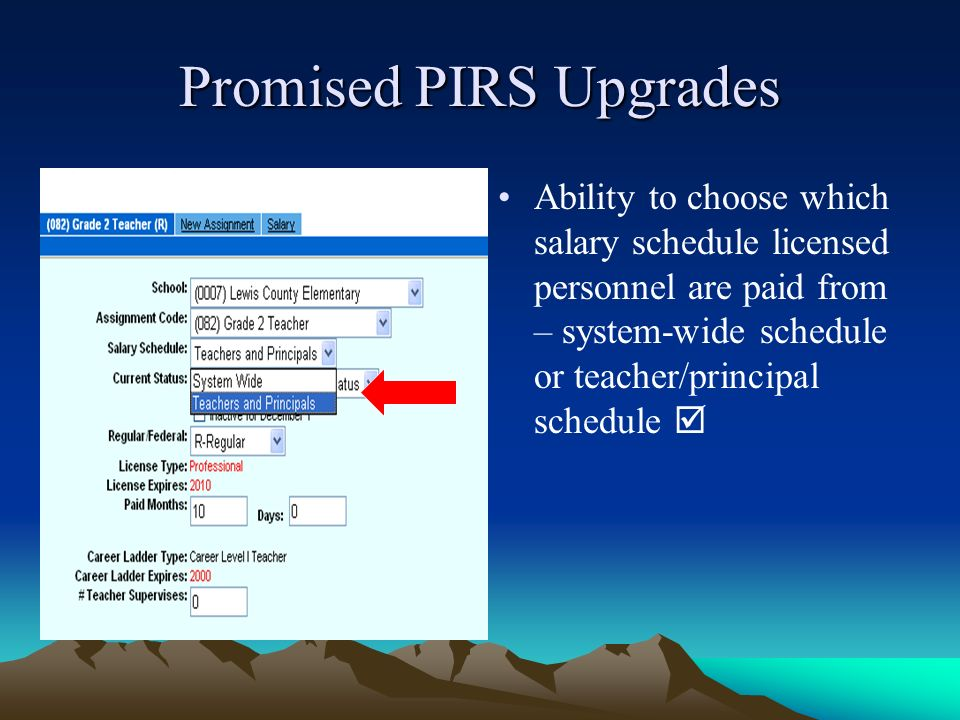 Promised PIRS Upgrades Ability to choose which salary schedule licensed personnel are paid from – system-wide schedule or teacher/principal schedule
