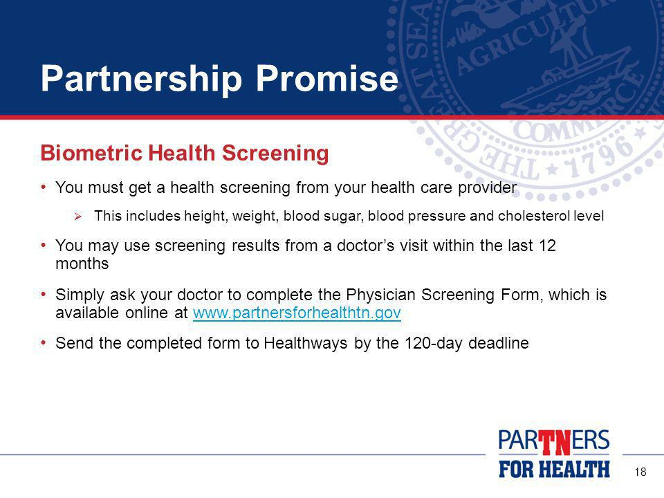 17 Partnership Promise You will have 120 days to complete the Well-Being Assessment.