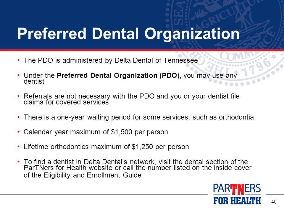 39 Prepaid Plan The Prepaid plan is administered by Assurant Employee Benefits The Prepaid Plan provides dental services at predetermined co-pay amounts from a limited network of participating dentists and specialists This means you must select a provider from a limited network of dentists and submit your selection to Assurant before any services will be covered The are no deductibles, no claims to file, no waiting periods, no annual dollar maximum, pre-existing conditions are covered and referrals are not required To find a dentist in Assurants network, visit the dental section of the ParTNers for Health website or call the Assurant number listed in the Eligibility and Enrollment Guide