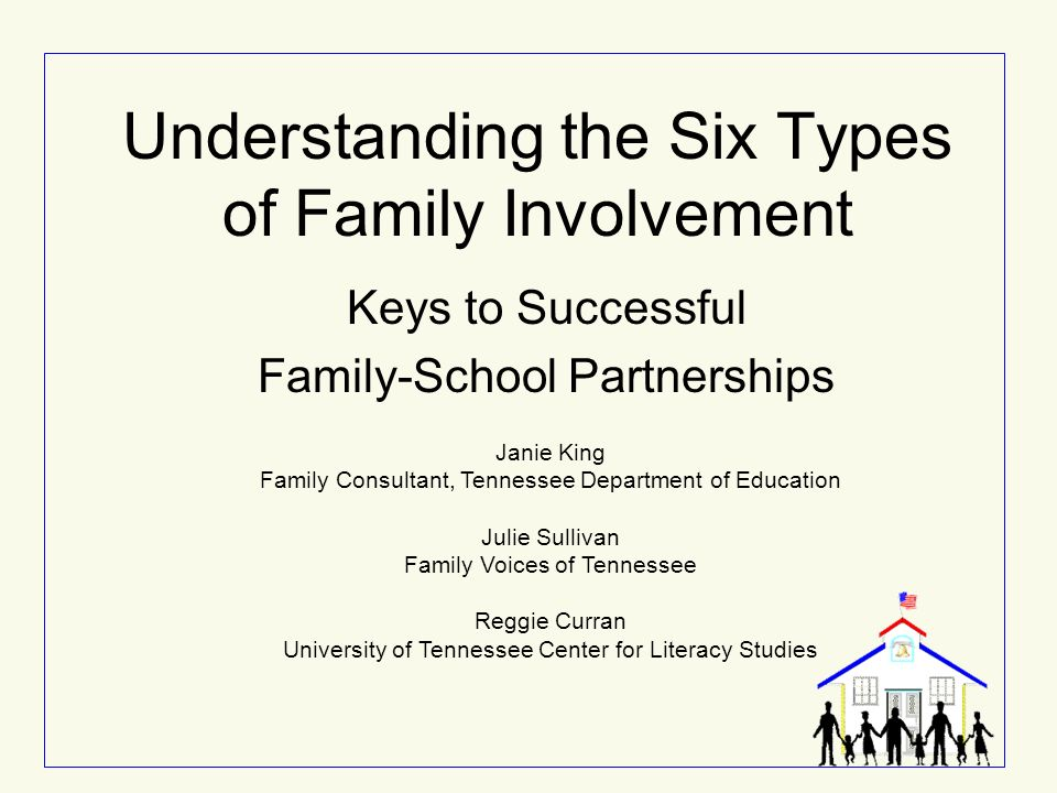 Understanding the Six Types of Family Involvement Keys to Successful Family-School Partnerships Janie King Family Consultant, Tennessee Department of