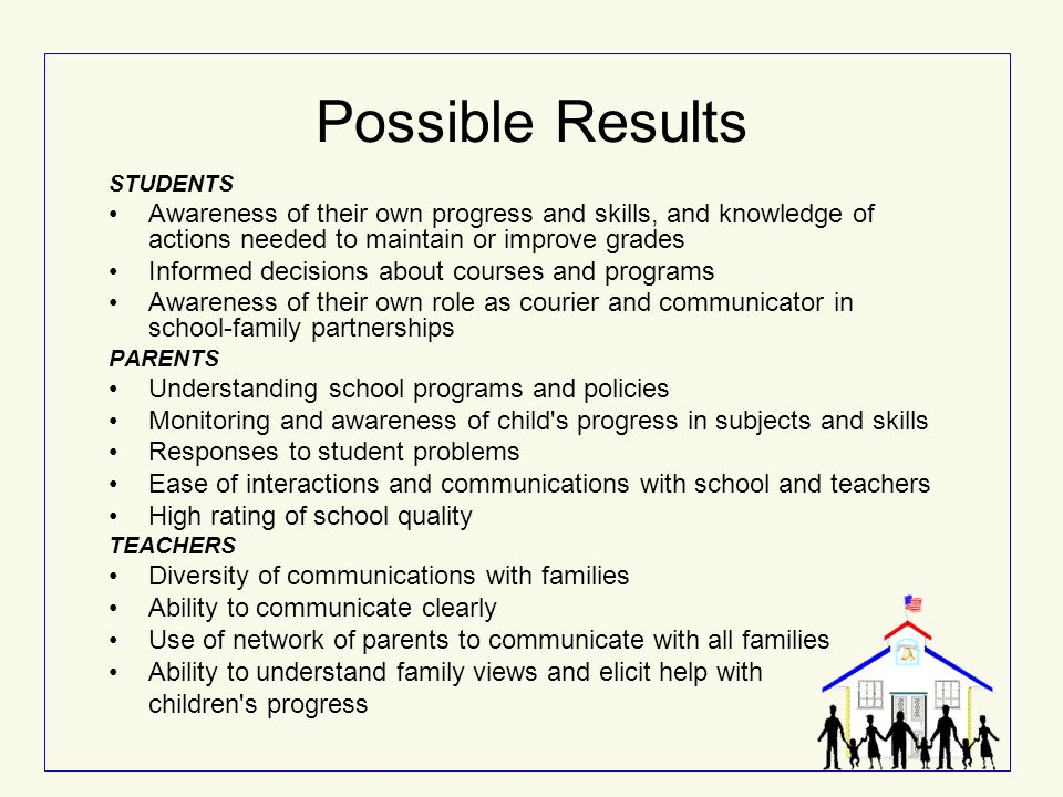 Possible Results STUDENTS Awareness of their own progress and skills, and knowledge of actions needed to maintain or improve grades Informed decisions