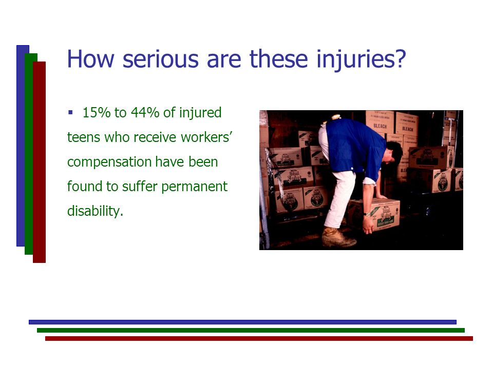 15% to 44% of injured teens who receive workers compensation have been found to suffer permanent disability.